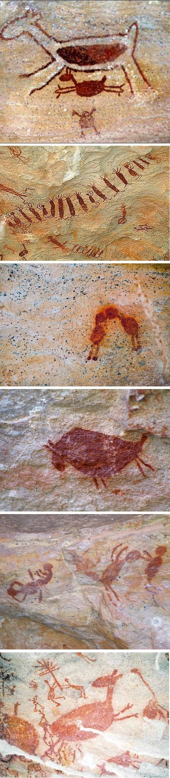 """The oldest reliably dated rock art in the Americas is known as the """"Horny Little Man."""" It is petroglyph depicting a stick figure with an oversized phallus and carved [painted?] in Lapa do Santo, a cave in central-eastern Brazil and dates from 12,000 to 9,000 years ago. Serra da Capivara National Park, a UNESCO World Heritage Site, Piauí."""