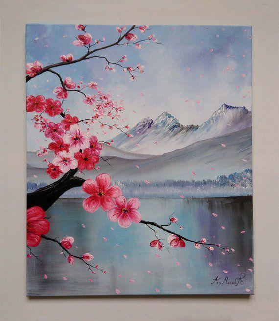 Japanese Sakura Beautiful Abstract Art Original Oil Painting Spring Landscape *Red Cherry Blossom*