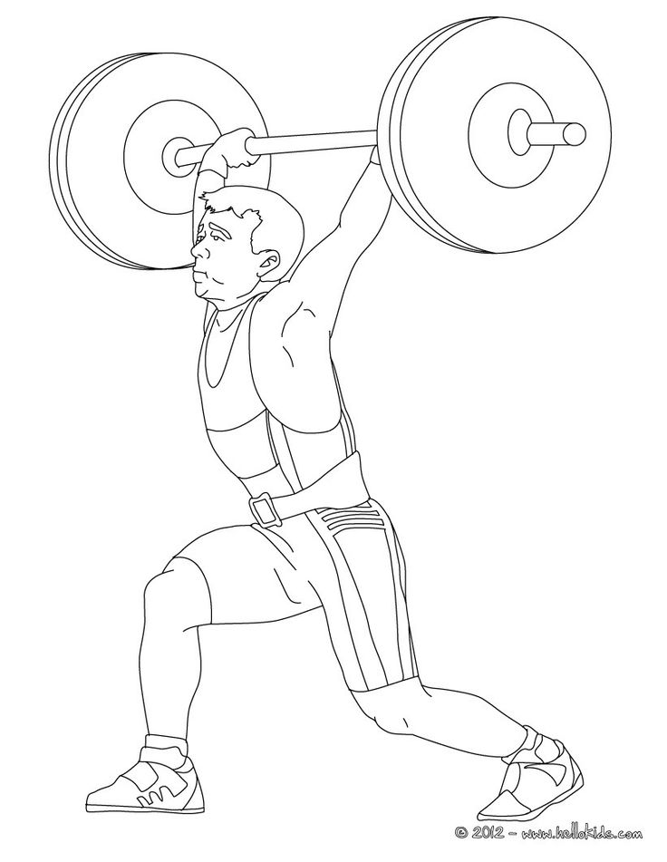 Weightlifting Coloring Page More Sports Pages On Hellokids