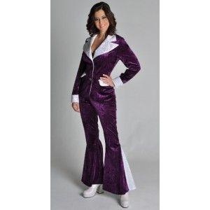 Déguisement disco femme chic deluxe, Déguisement disco violet argent glitter femme
