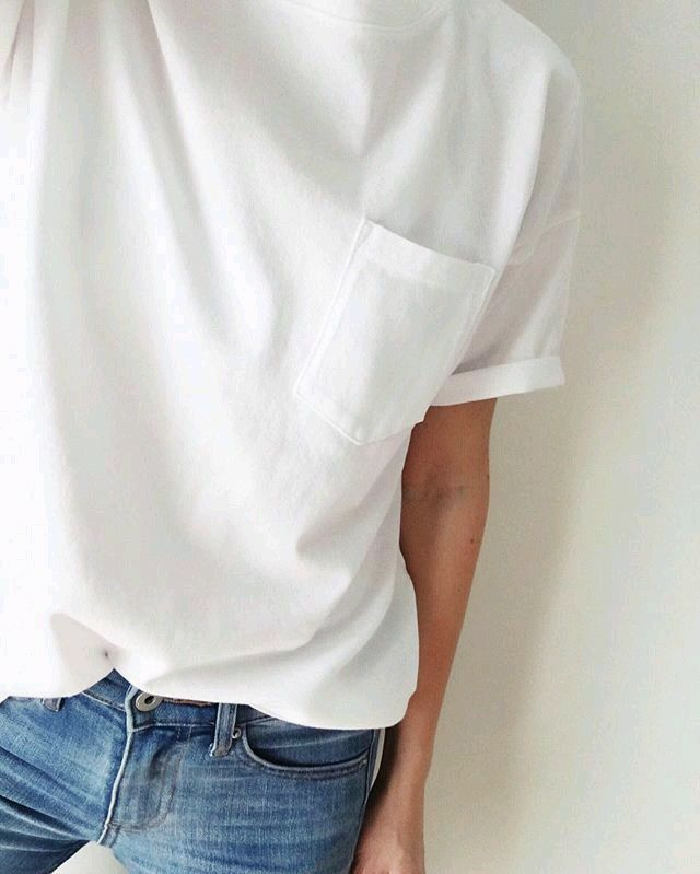 White t shirt with pocket detail + jeans = style staple uniform.