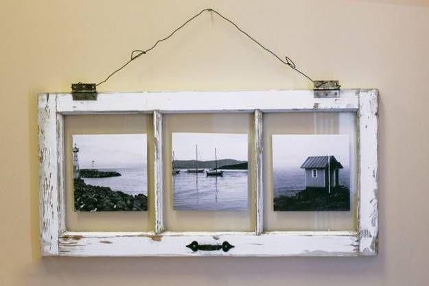 cómo reutilizar y reciclar viejas ventanas y puertas de madera hechos a mano para la decoración de las paredes