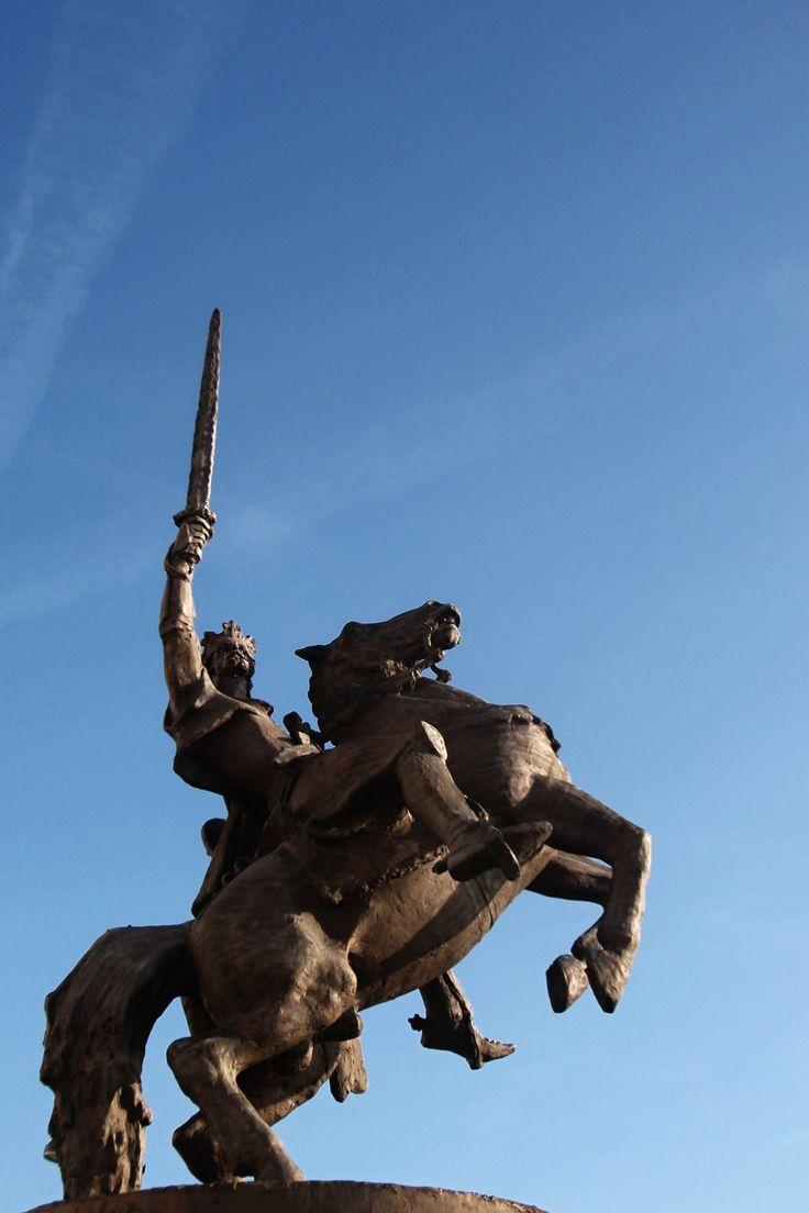 Statue of king Svatopluk behind Bratislava castle