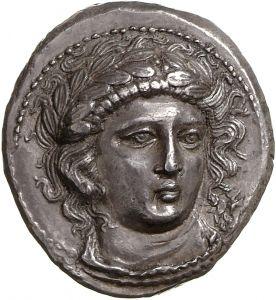 Tetradracma - argento - Anfipoli, Macedonia (370-360 a.C.) - ΑΜΦΙΠΟΛΙΤΕΩΝ testa di Apollo quasi frontale con corona di alloro - Münzkabinett Berlin