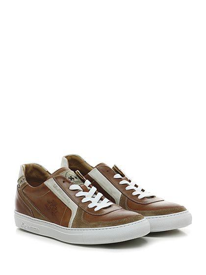 LA MARTINA - Sneakers - Uomo - Sneaker in pelle effetto vintage e camoscio con suola in gomma. Tacco 30. - CUOIO - € 199.00