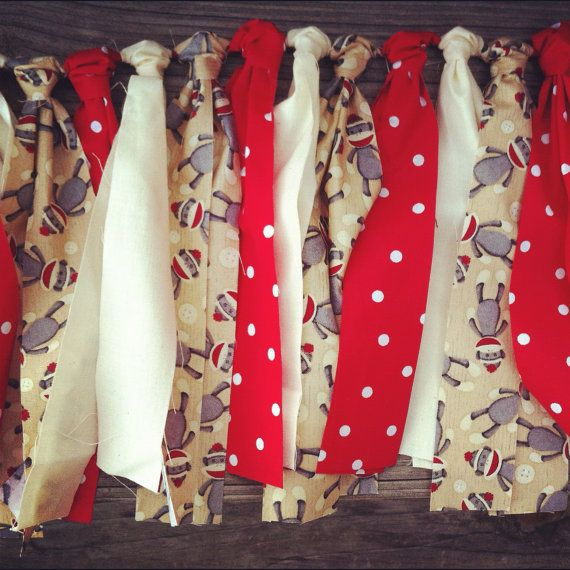 This could also be cute curtains....Sock it to Me Monkey Rag Tie Garland by jpurifoy on Etsy, $25.00