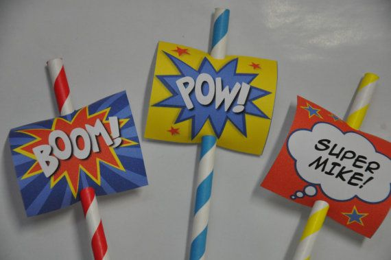 Super Heroes Comic Book pdf printable party tags / cupcake toppers TEXT EDITABLE Instant Download