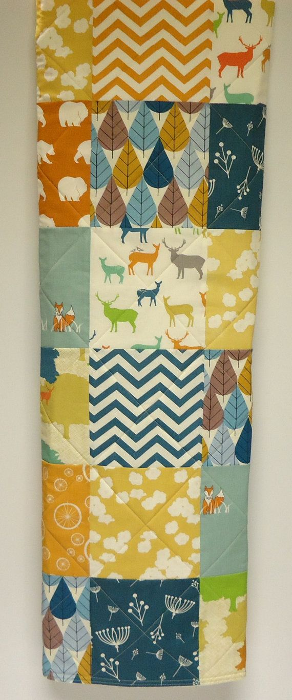 Modern Baby Quilt-Organic Birch Fabric-Baby Crib Bedding-Chevron-Teal-Orange-Woodland Animal-Deer-Elk-Fox-Bear-Baby Blanket
