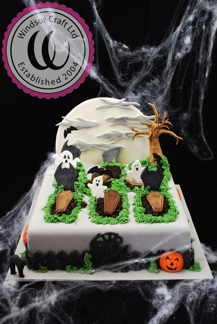 graveyard halloween cake using all of our windsor products and also the fpc pumpkin mould - Halloween Cake Decorating