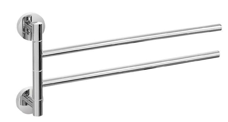 Der formschöne Handtuchhalter aus der Serie EOS besticht durch seine schlichte Eleganz. Der Halter aus hochwertigen verchromten Messing bietet mit den zwei beweglichen Armen ausreichend Platz für Handtücher. Die beiden beweglichen übereinanderliegende Arme des Handtuchhalters lassen sich um 180° schwenken. Die Befestigung erfolgt entweder mit Schrauben oder mit einem speziellen 2-Komponenten-Kleber.