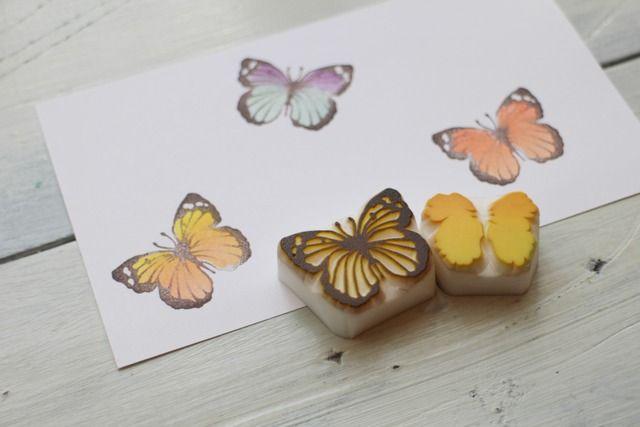 【再販】蝶の多色押し 消しゴムはんこ by bf-ako 文房具・ステーショナリー はんこ