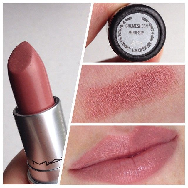 MAC lippie in Modesty, cremesheen finish