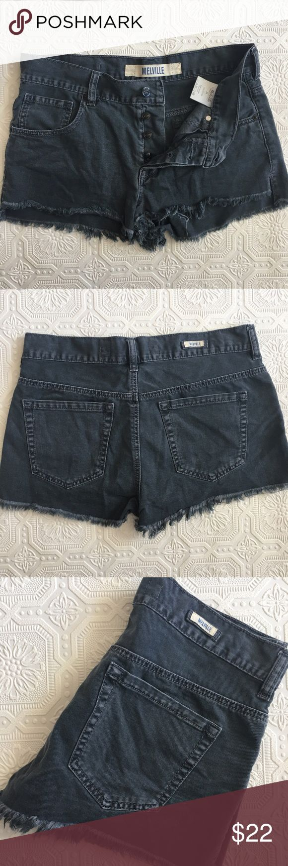 "Brandy Melville Destructed Gray Shorts Brandy Melville gray soft cotton shorts with frayed hems. Five pocket style with belt loops. Black buttons - all hidden except top one. Size 28. Waist measures 15.5"" across when laid flat. Short inseam. In very good used condition - broken in, but no stains or holes. Brandy Melville Shorts Jean Shorts"