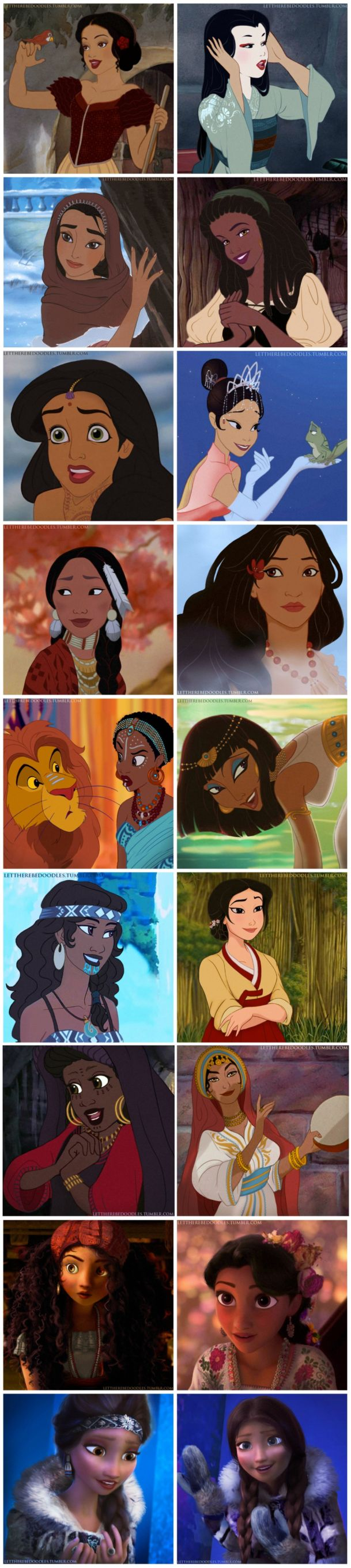 Princesses so as (left to proper): Snow White (Spanish), Cinderella (Japanese)…
