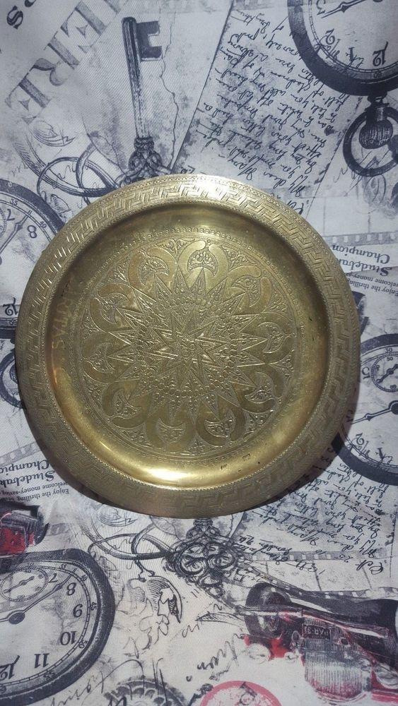 Brass Platter Large Tray Vintage Serving Decorative Antique Etched Wall Solid Pl