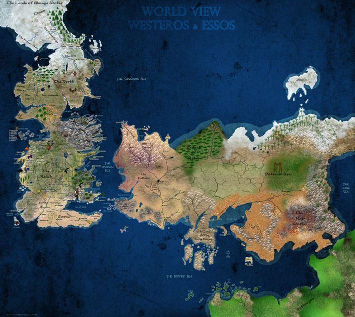 Game Of Throne World View Westeros Essos Map In Colour 24 Silk