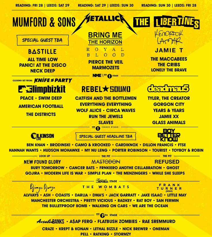 Line-up Poster | Reading Festival 2015 - yeah baby!!!