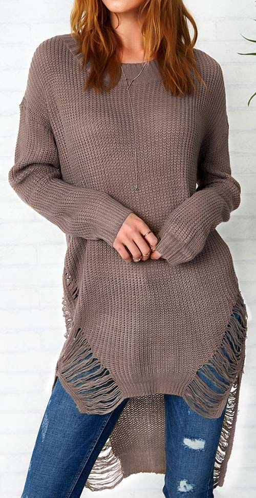 This solid color sweater is an essential piece-Only $21.99 you must have in your closet. Its soft material will give you comfort and warmth, and high-low hem will show you a edgy look.