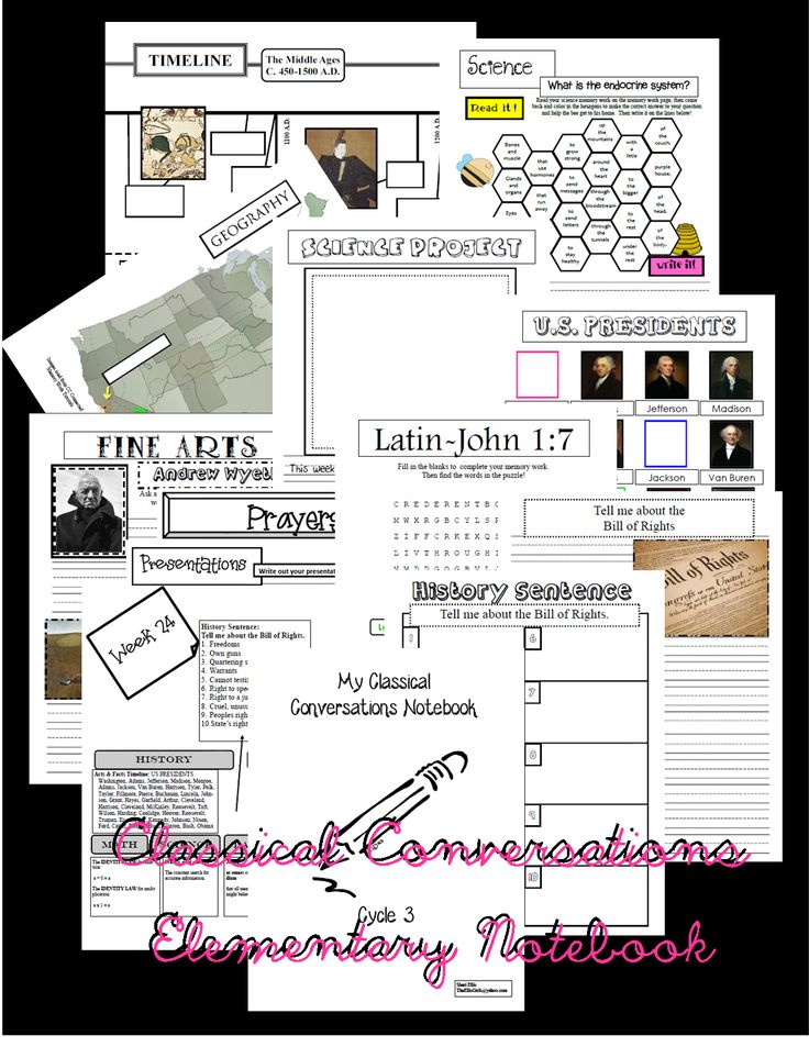 Weekly notebook for ages 4-7, pages for every subject, including fine arts!  Lots of activities-cut&paste, coloring, word searches, crosswords, copy work and more!  It will be uploaded to classical conversations connected as soon as the upload feature is available!