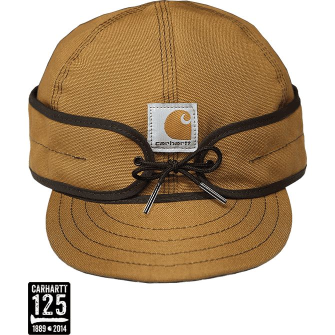 Carhartt hats and Carhartt caps for men by Stormy Kromer -- a fitted, 6-panel hat with earflaps constructed from legendary brown duck fabric.
