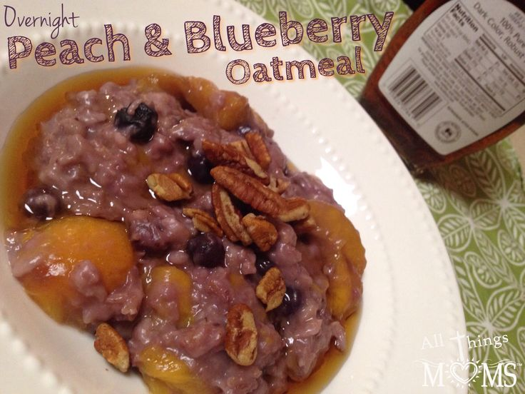 Overnight Peach and Blueberry Oatmeal