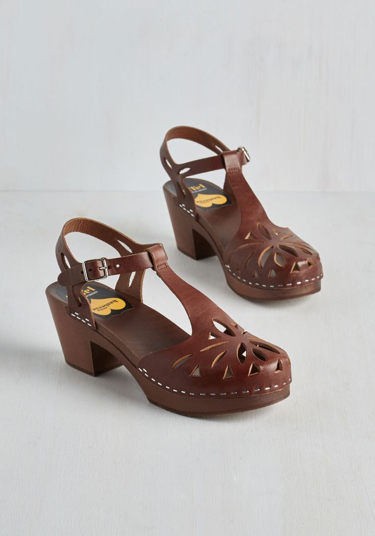 Cutout for Anything Heel in Sorrel. Great footwear can inspire great things, and in these rich brown T-straps, youre ready for just about anything! #brown #modcloth