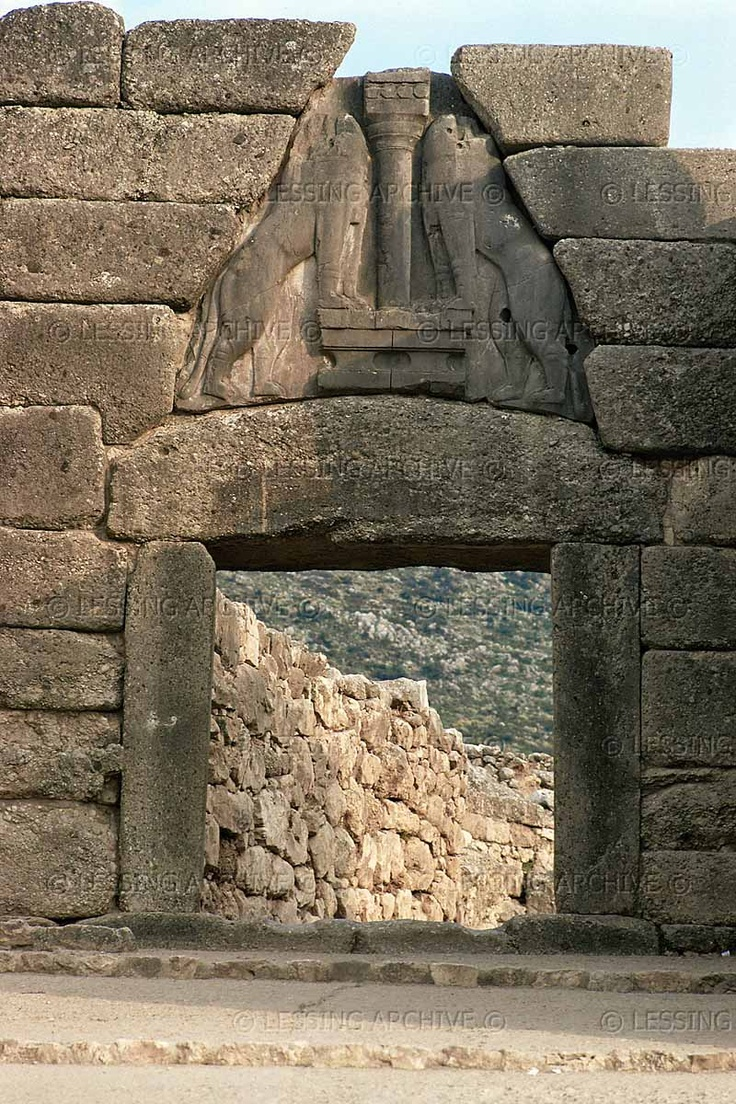 MYCENAEAN ARCHITECTURE 2ND-1ST MILL.BCE   The Lion Gate of the Citadel of Mycenae (1350-1330 BCE). The Lion Gate was discovered in 1876-1877 by Heinrich Schliemann.   Archaeological Site, Mycenae, Greece