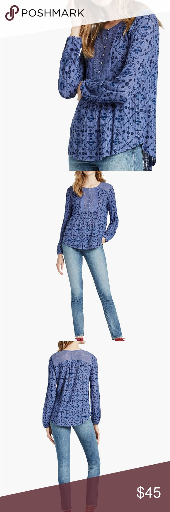 NWT Lucky Brand Drop Needle Knit Top in Blue New with tags! Intricate front embroidery, a dynamic geo print and a flowy silhouette give this top major boho vibes.  Front length: 26 inches Back length: 26.5 inches Sleeve length: 30.5 inches 80% Viscose, 20% Linen Lucky Brand Tops Blouses