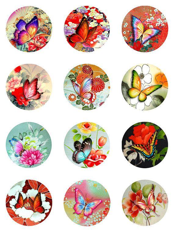 Butterflies Asian Florals Collage Sheet Digital por pixeltwister