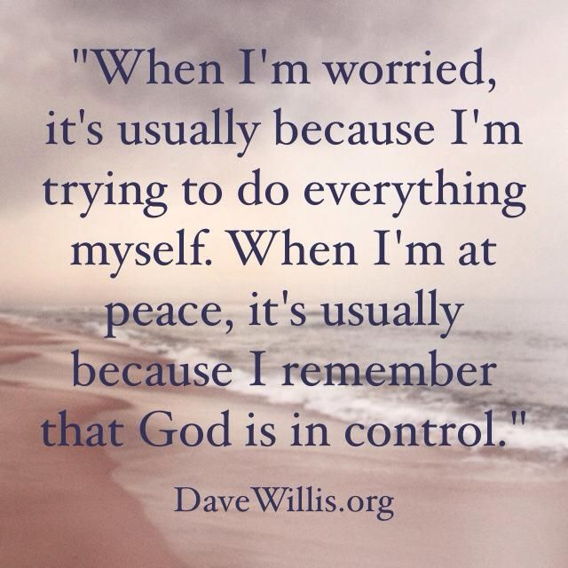 Let God be in Control, after all, He is anyway!!