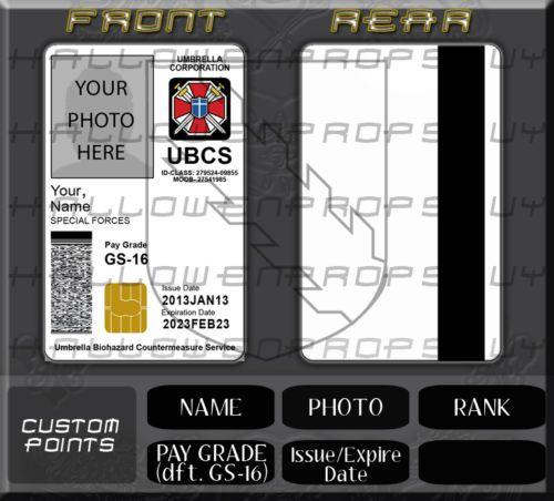 Rresident Evil Customizable Common Access Card PVC ID Card Badge Umbrella CAC   eBay