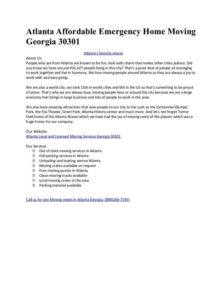 Moving Company Atlanta  by Movingcompanyatlanta via slideshare