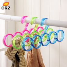 ORZ 5-Hole Ring Rope Slots Holder Hook Scarf Wraps Shawl Storage Hanger Ties Hanger/bBelt Rack/Scarves Organizer Practical Tools(China)