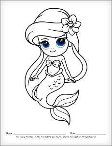 AnimatedTutor.com   How to Draw a Mermaid Ariel The Little Mermaid – Cute and Easy – AnimatedTutor.com