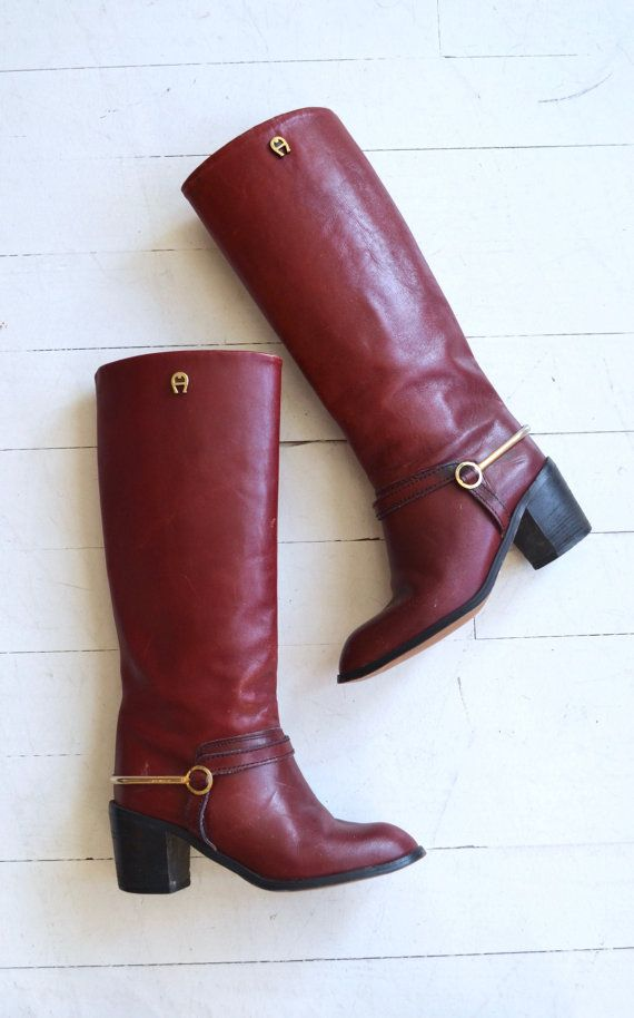 Vintage 1970s oxblood leather harness boots with rounded toe and stacked wood heel. ✂-----Measurements fits like: us 5.5 | euro 35.5 | uk 3 insole: 9.25 ball: 3.25 heel: 2.5 shaft height: 14 calf circumference: 14 brand/maker: Etienne Aigner condition: excellent ➸ more vintage footwear http://www.etsy.com/shop/DearGolden?section_id=5800174 ➸ visit the shop http://www.DearGolden.etsy.com _____________________ ➸ blog | www.deargolden.com ➸ twitter | d...