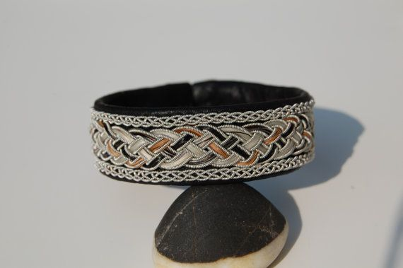 Your Horse Hair Sami Bracelet - Lapland - Pewter Silver Reindeer leather wide - Sweden