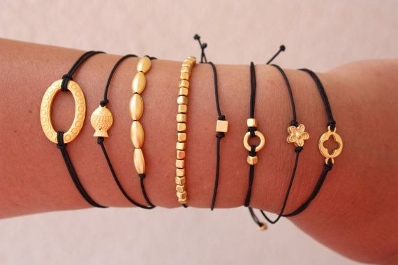 Black and Matt Gold Friendship Collection by MonroeJewelry on Etsy
