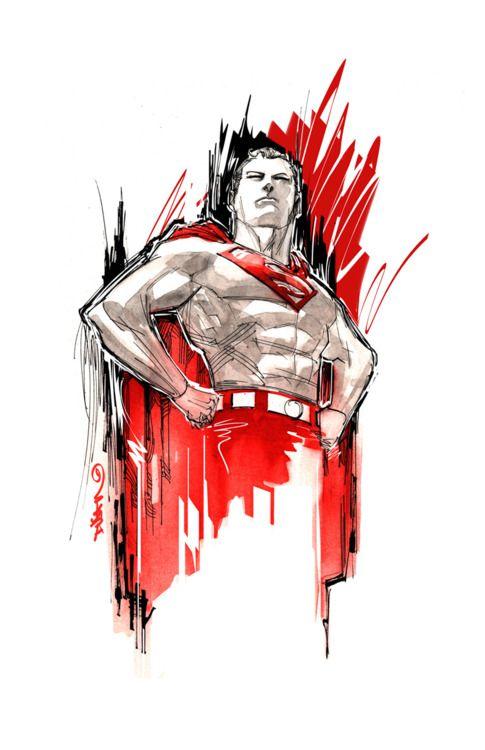 Red Superman Sketch: Comics Art, 2Moro Comics, Stuff, Dc Comics, Superman Sketch, Superheroes Dc, Dustin Nguyen, Superman Art, Comic Art