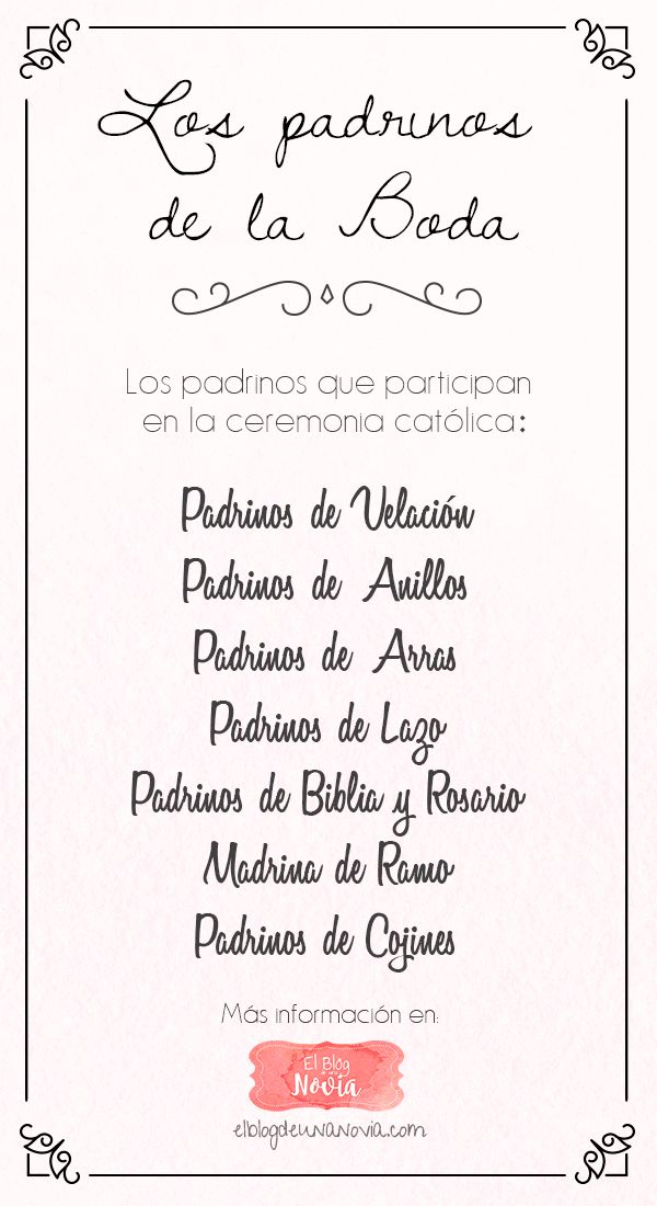 In case you want to include family in the wedding without making them part of the wedding party.. Los Padrinos de la Boda - ¿Qué padrinos se eligen para la Boda?