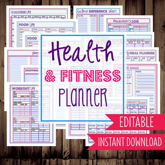 Health and Fitness Planner-Diet Planner-Weight Loss Tracker-14 Sheets-Chevron-INSTANT DOWNLOAD & EDITABLE
