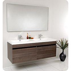 Fresca Largo Gray Oak Double Bathroom Vanity