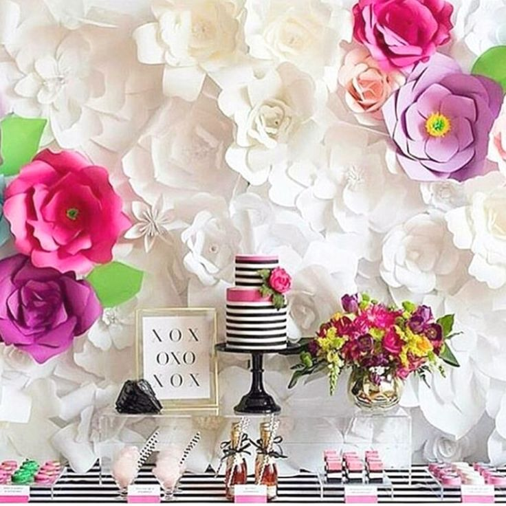 OMG, giant paper flowers backdrop for a tea party decoration! Pin it and ask your bridesmaids to help you out! SLG Photography.   mysweetengagement.com