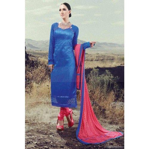 BLUE SILK CHURIDAR SUIT Price - £31.00 #IndianDresses #ChuridarSuitUK #FashionUK #DesignerDressesUK #FantsticShoppingUK #ShopkundUK