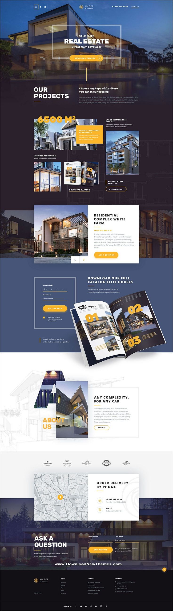 Amber is a clean and modern design multipurpose #PSD #template for creative #realestate business agency and professional services #website with 10 niche homepage layouts and 25 layered PSD files to download & live preview click on image or Visit 🡽 #webdesign #Uiuxdesign – Web Design Inspiration