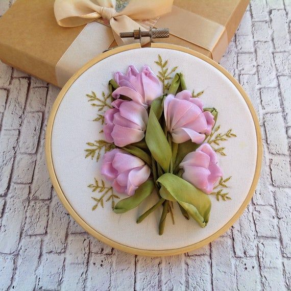 Handmade Tulip Painting Ribbon embroidery Kit For Mom Gifts No Frame