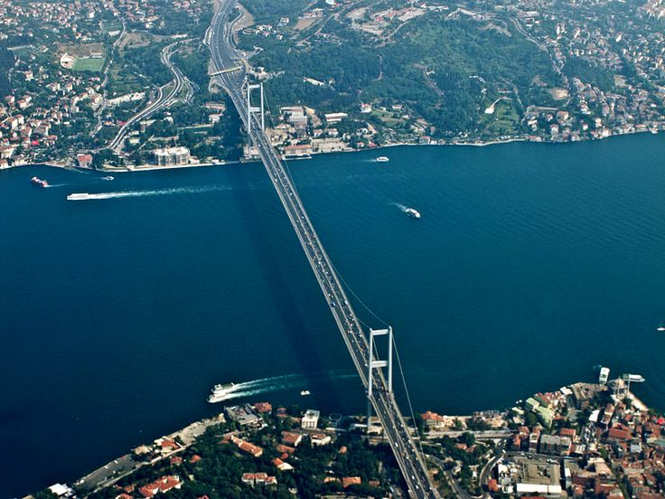 The Bosphorus Bridge, also called the First Bosphorus Bridge is one of the two bridges in Istanbul, Turkey. #Bridges