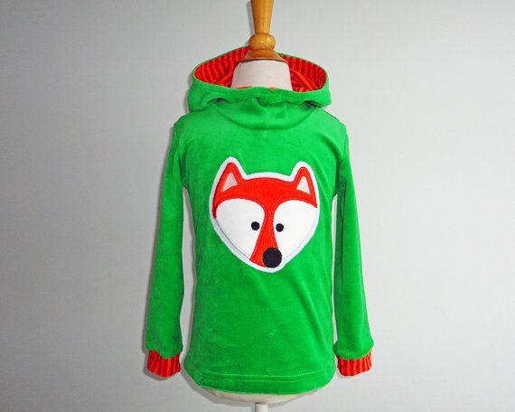 Boys Fox Hoodie Green Orange Custom Size Woodland Nicky Velvet on Etsy, $48.86