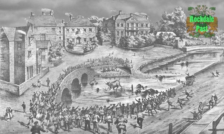 Bull baiting. River Roche. Rochdale. most likely spot that George Whitefield preach at, when he visited with John Wesley.