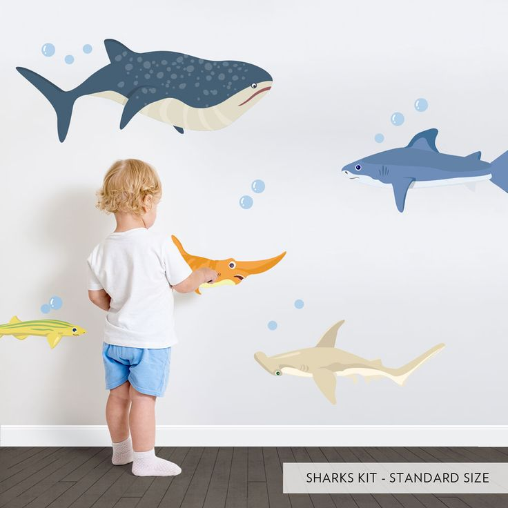 Shark adventures printed wall decal