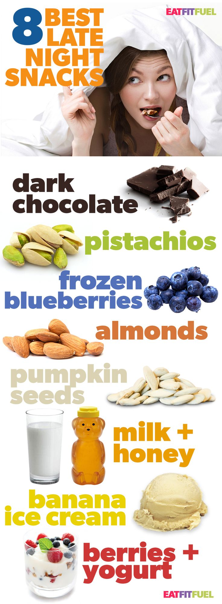 The 8 Best Late Night Snacks for Weight Loss Infographic! | Posted By: NewHowToLoseBellyFat.com